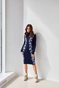Женское платье трикотажное вязка - Маки