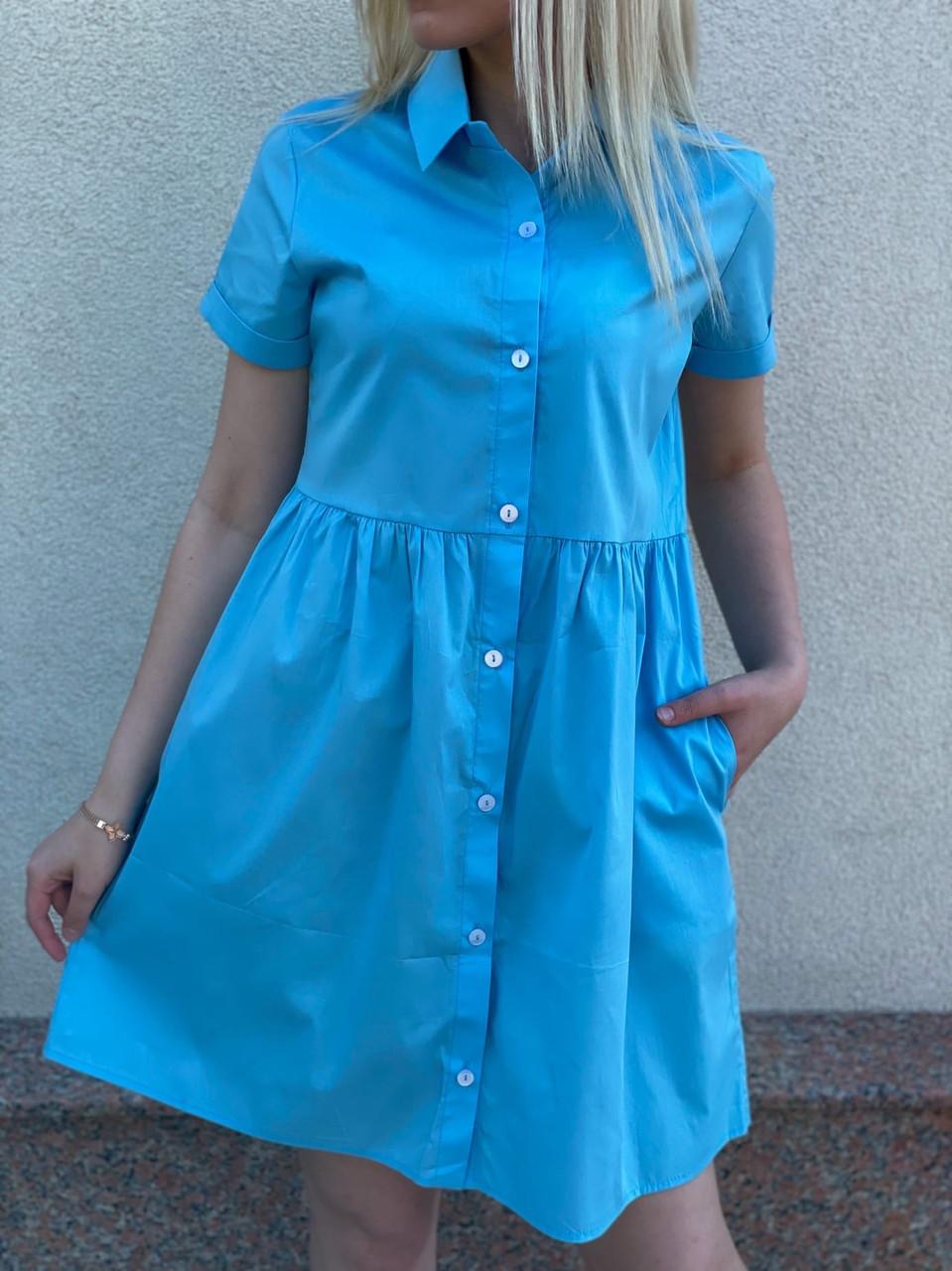 Платье женское свободного кроя с коротким рукавом, 01091 (Голубой), Размер 44 (M)