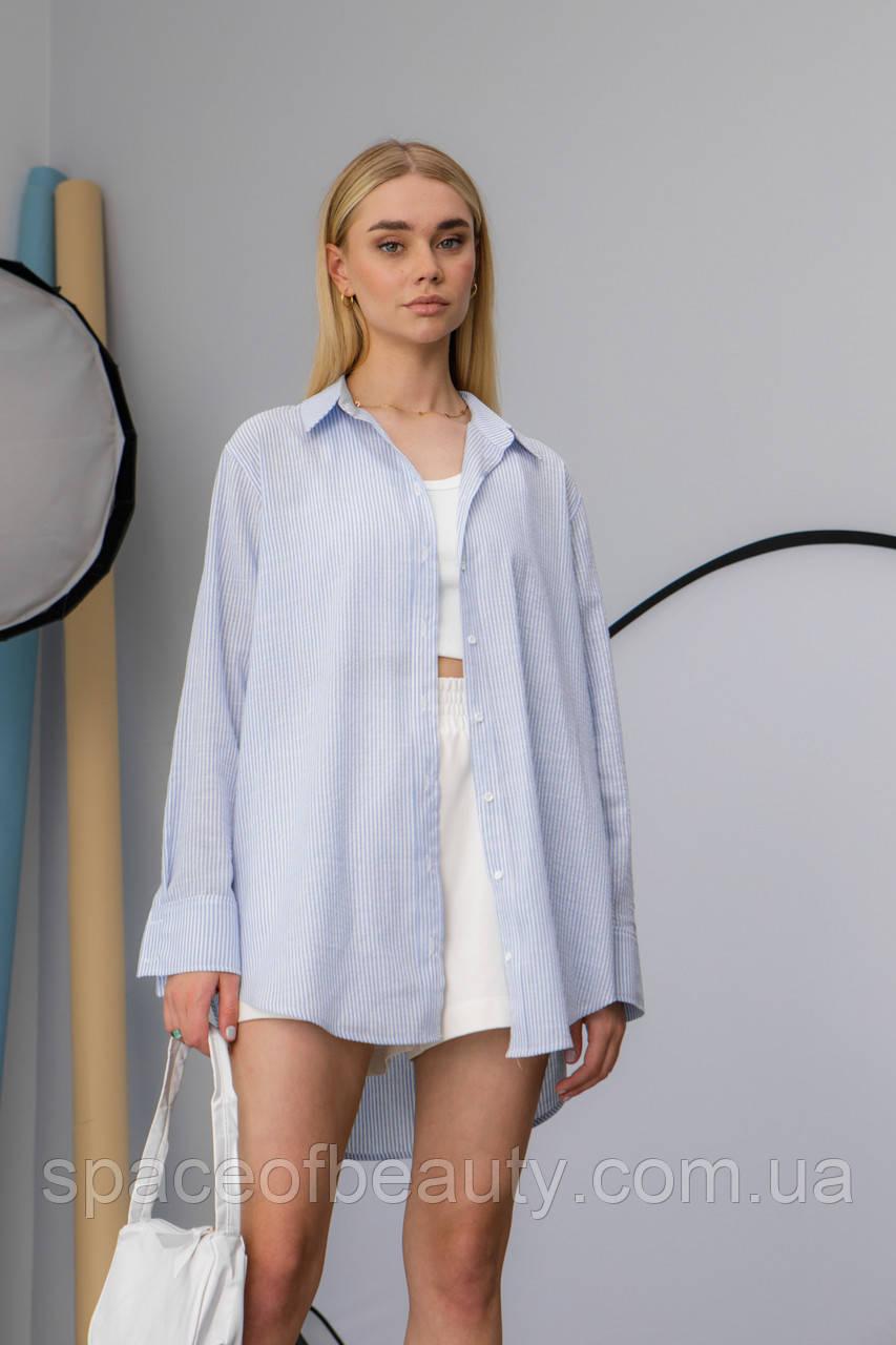 Жіноча сорочка Stimma Сабэсти 7639 Xs Темно-Джинсова Вузька Смужка