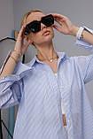 Женская рубашка Stimma Cабэсти 7643 Xs Голубая Узкая Полоска, фото 4