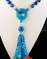 Голубое ожерелье из агата