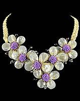 Перламутровое украшение ожерелье Цветочки