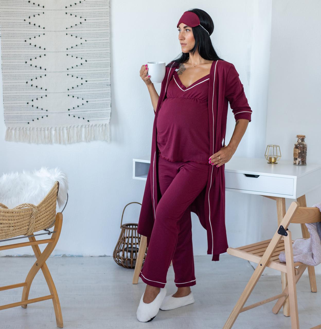 """Теплый халат с пижамой для будущих и кормящих  мам """"Bordo"""" р.44-52"""