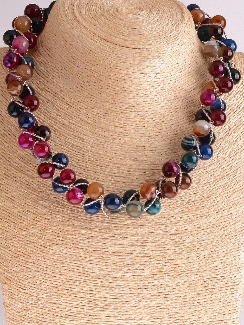Цветное ожерелье камень агат
