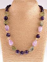 Ожерелье натуральный розовый кварц