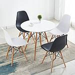 Стіл Тауер Вуд обідній, білий, МДФ, круглий, діаметр 80 см, фото 2