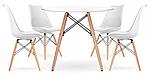 Стіл Тауер Вуд обідній, білий, МДФ, круглий, діаметр 80 см, фото 4
