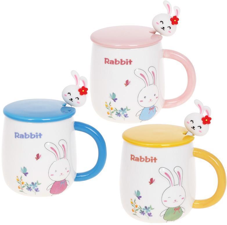 Кружка порцеляновий Rabbit 430мл з кришкою і ложкою, 3 дизайну BD-927-223 1 шт