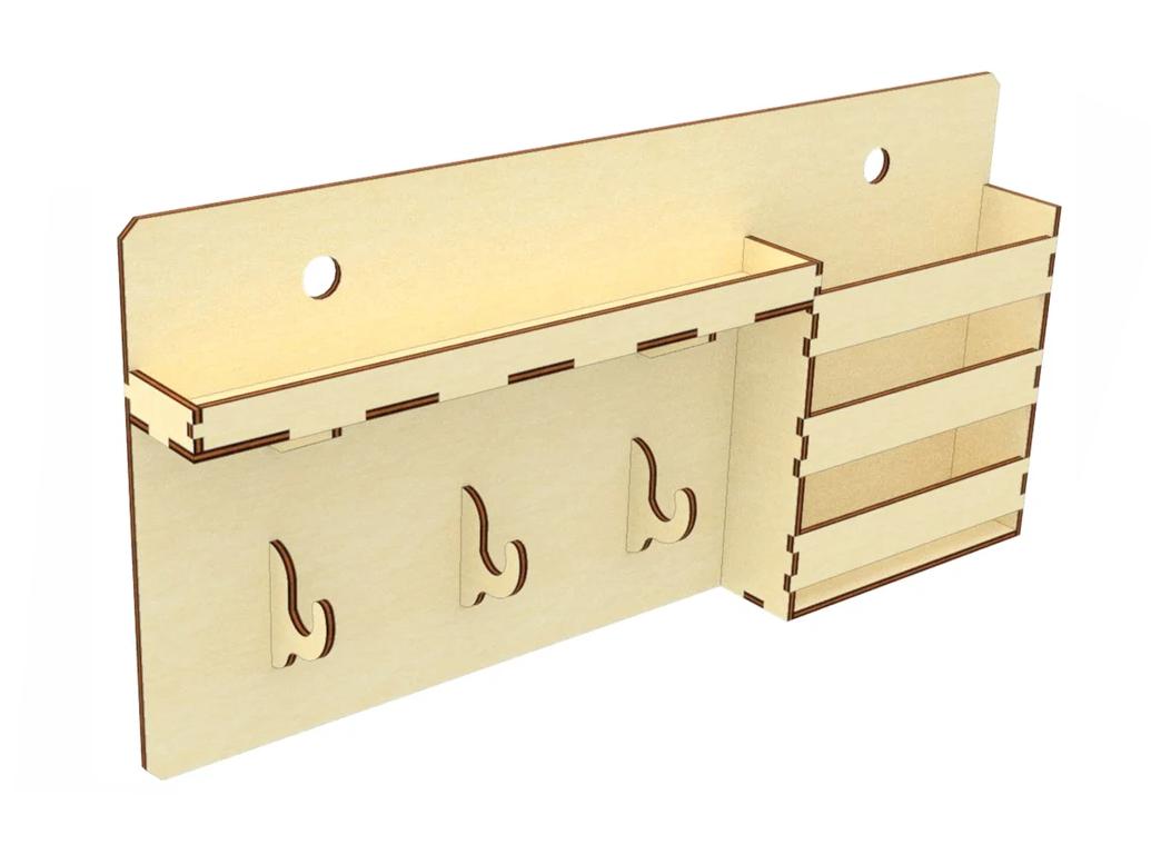 Настенная ключница вешалка для ключей на 3 крючка с полочкой и карманом
