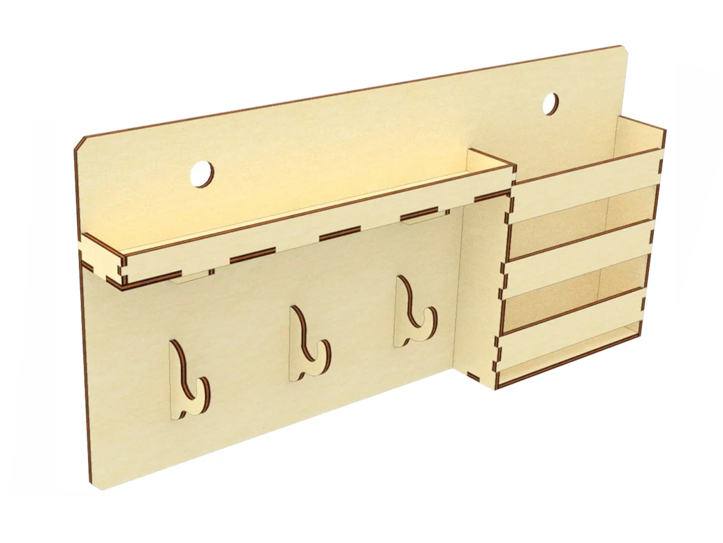 Настінна ключниця вішалка для ключів на 3 гачка з поличкою і кишенею