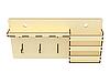 Настенная ключница вешалка для ключей на 3 крючка с полочкой и карманом, фото 3