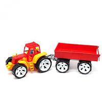 Трактор с прицепом, желтый