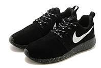 "Кроссовки Nike Roshe Run Suede ""Black with White Dots""  (Копия ААА+), фото 1"