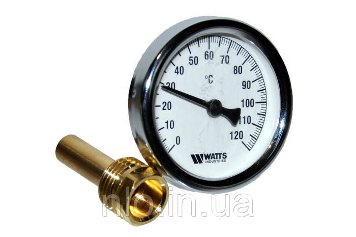 Термометр для котла Watts 0-120°C D=63 мм со штуцером L=43 мм