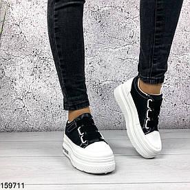 Кроссовки женские Veers белые с черным на липучках | Кеды женские из эко кожи на платформе