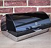 Хлебница Edenberg EB-113 из нержавеющей стали с откидной крышкой Черная   Хлебница нержавейка на кухню, фото 4