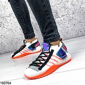 Кроссовки женские Blind белые с мульти вставками из обувного текстиля | Мокасины женские на оранжевой подошве
