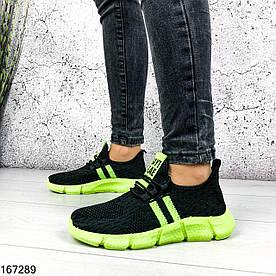 Кроссовки женские Sayt черные с зеленым из обувного текстиля | Мокасины женские на шнурках