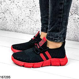Кроссовки женские Sayt черные с красным из обувного текстиля | Мокасины женские на шнурках