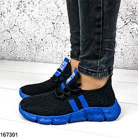 Кроссовки женские Sayt черные + синий из обувного текстиля | Мокасины женские на шнурках