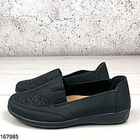 Туфли женские черные Ketri на ровной подошве из мягкой эко кожи | Мокасины женские без шнурков на широкую ногу