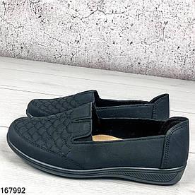 Туфли женские черные Lora на ровной подошве из мягкой эко кожи | Мокасины женские без шнурков на широкую ногу