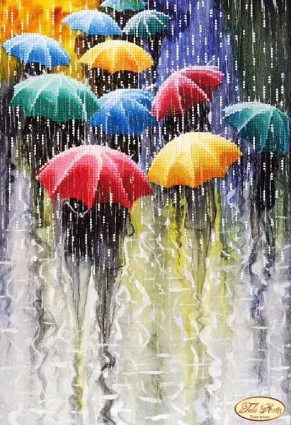 """Рисунок на ткани для вышивания бисером """"Веселые зонтики """""""