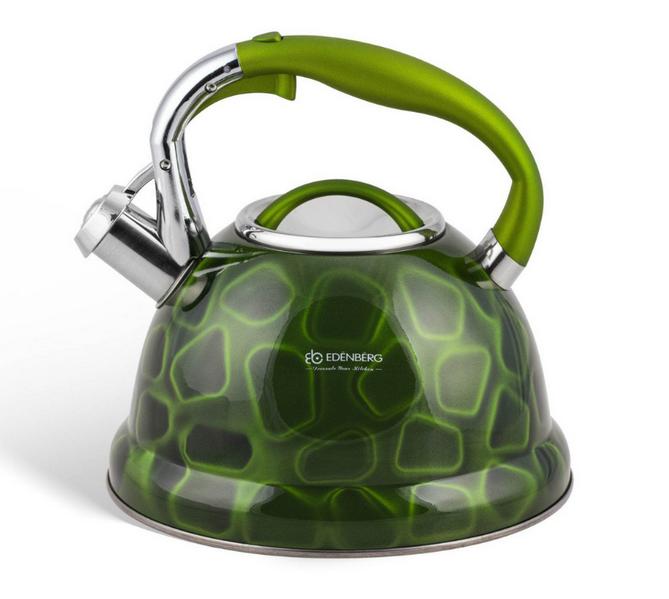 Чайник Edenberg EB-1910 со свистком из нержавеющей стали 3 л Зеленый | Свистящий металлический чайник