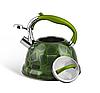 Чайник Edenberg EB-1910 со свистком из нержавеющей стали 3 л Зеленый | Свистящий металлический чайник, фото 2