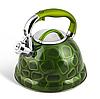 Чайник Edenberg EB-1910 со свистком из нержавеющей стали 3 л Зеленый | Свистящий металлический чайник, фото 3