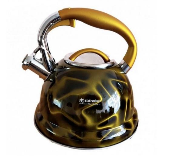 Чайник Edenberg EB-1911 зі свистком з нержавіючої сталі 3 л Жовтий | Свистячий металевий чайник
