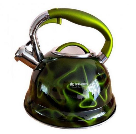 Чайник Edenberg EB-1911 со свистком из нержавеющей стали 3 л Зеленый | Свистящий металлический чайник