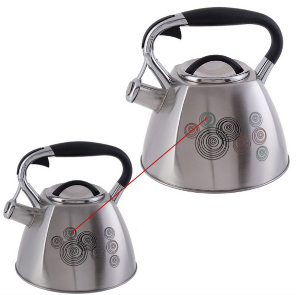 Чайник Edenberg EB-1944 зі свистком з нержавіючої сталі 3л Салют | Свистить чайник змінює колір