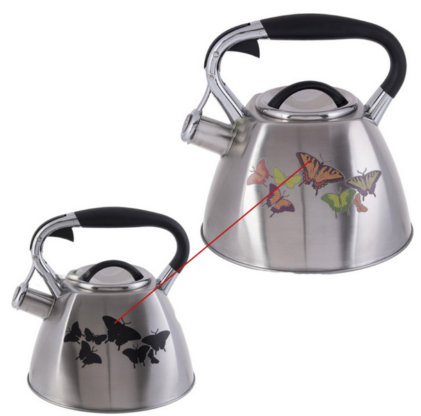 Чайник Edenberg EB-1944 зі свистком з нержавіючої сталі 3л Метелик   Свистить чайник змінює колір