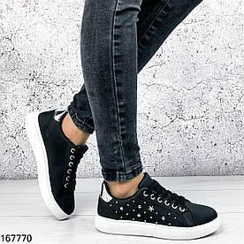Кроссовки женские черные Dazy на белой подошве с серебристой пяткой | Эко кожа | Черные кеды | Видео обзор