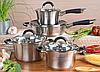 Набор посуды Edenberg EB-2407 8 предметов из нержавеющей стали кастрюли сотейник сковорода, фото 7