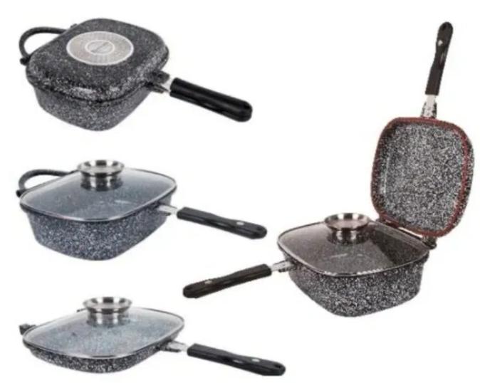 Жаровня Edenberg EB-3320 3в1 двухсторонняя алюминий с гранитным покрытием гусятница казан сковорода с крышкой