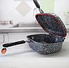 Жаровня Edenberg EB-3320 3в1 двухсторонняя алюминий с гранитным покрытием гусятница казан сковорода с крышкой, фото 2