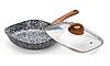 Сковорода Edenberg EB-3343 с крышкой квадратная с двусторонним гранитным покрытием 24 см, фото 2