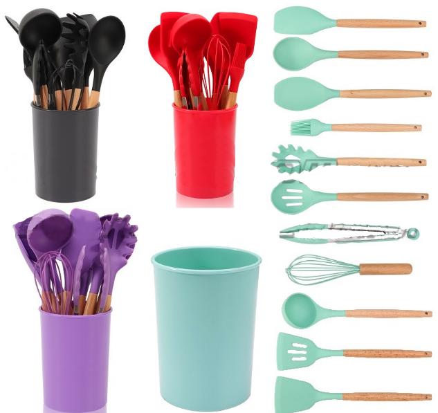 Набор поварешек с подставкой Edenberg EB-3610 12 предметов | Набор Кухонных принадлежностей