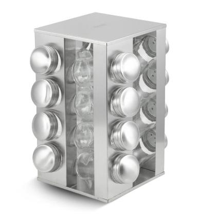 Набір для спецій Edenberg EB-4025 17в1 скляний обертається підставкою з нержавіючої сталі