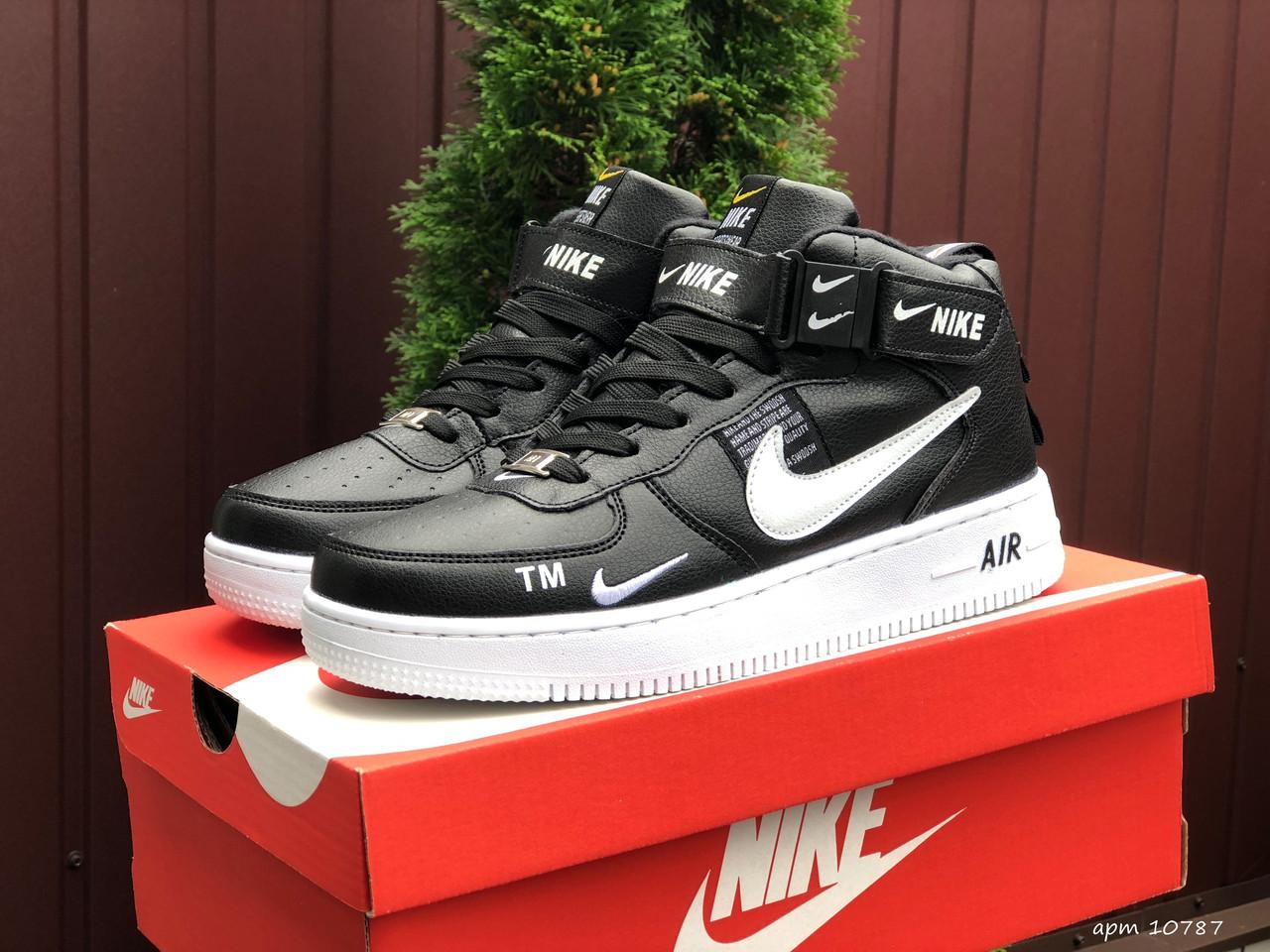 Чоловічі зимові кросівки Nike Air Force (чорно-білі) В10787 високі круті кроси