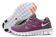 Кроссовки для бега Nike Free Run Plus 2 06W серые с фиолетовым