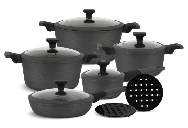 Набір посуду Edenberg EB-5641 12 предметів алюміній з мармуровим покриттям   Каструлі сковорода ківш