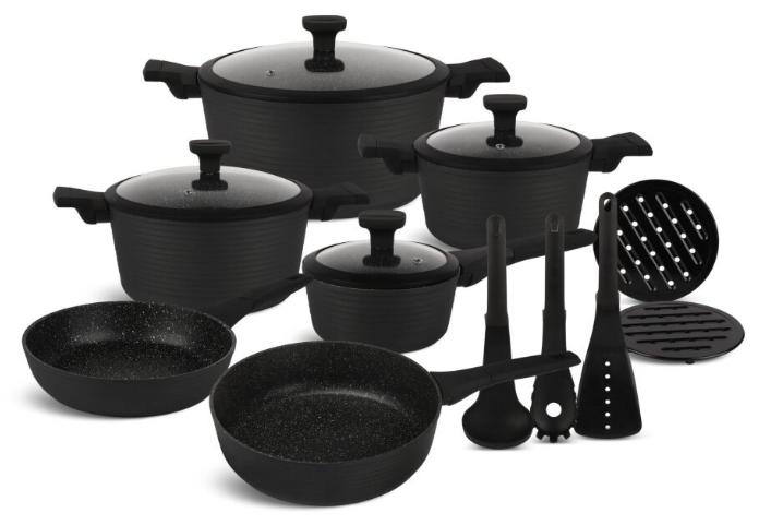 Набор посуды Edenberg EB-5643 15 предметов алюминий с мраморным покрытием   Кастрюли сковороды ковш поварешки