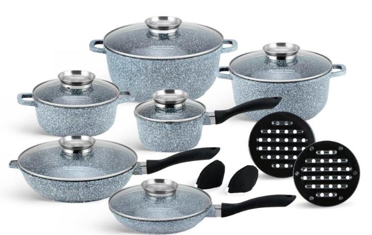 Набір посуду Edenberg EB-8040 алюміній з гранітним покриттям 14 предметів з кришками каструлі, сковороди ківш