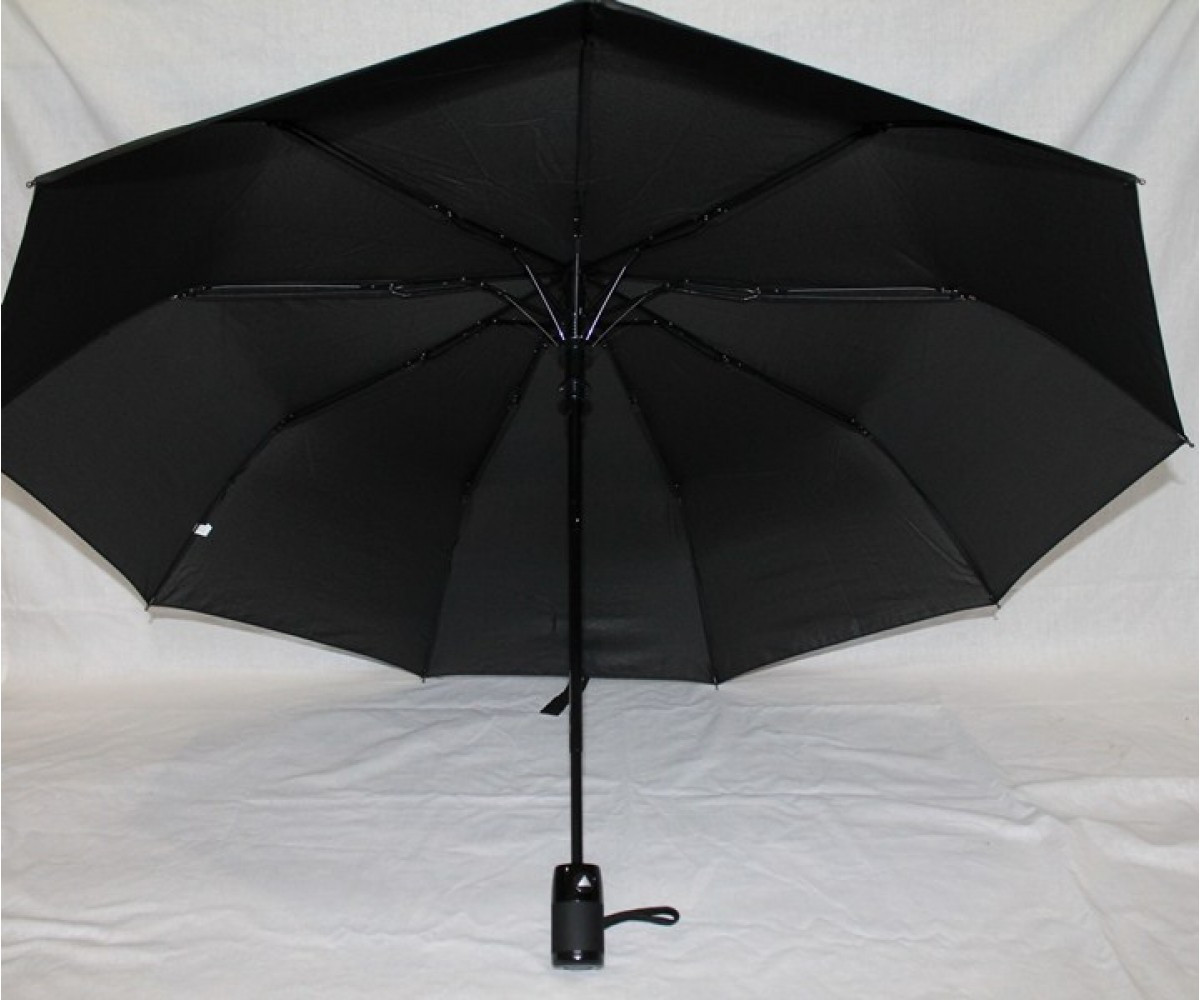 Зонт мужской полуавтомат Антиветер 3 сложения Calm Rain Черный
