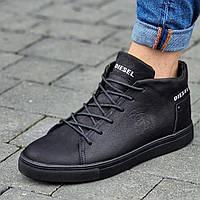 Кросівки чоловічі зимові шкіряні чорні (код 8080)