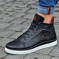 Кросівки чоловічі зимові шкіряні чорні (код 8180)