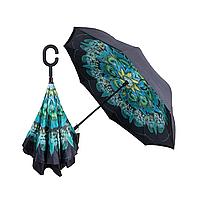 Зонт зворотного складання Квітка umbrella Павич